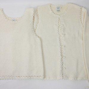 Garnet Hill Ivory Knit Twin Set Women's Size L